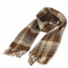 British Style Cell Pattern Warm Cashmere Scarf for Men - Coffee