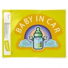 BABY IN CAR Letters + Milk Bottle Pattern Car Warning Sticker - Yellow + Black + Blue