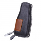 S-008 Wine Bottle Style PU Leather Zipper Car Key Holder Case Bag - Black + Brown
