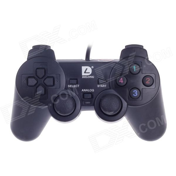 DILONG PU401 USB 2.0 Wired PC Game Pad Shocks Joystick - Black (168cm-Cable)