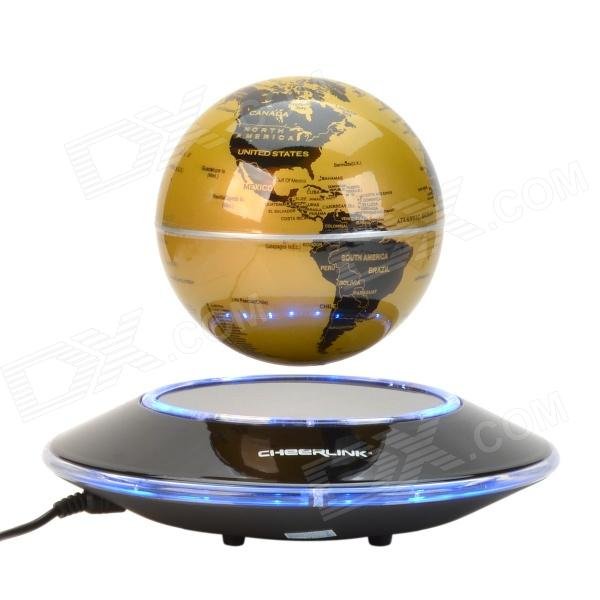 CHEERLINK 106mm UFO Maglev Floating Globe w/ Anion Generator - Yellow + Black (US Plug / 100~240V)