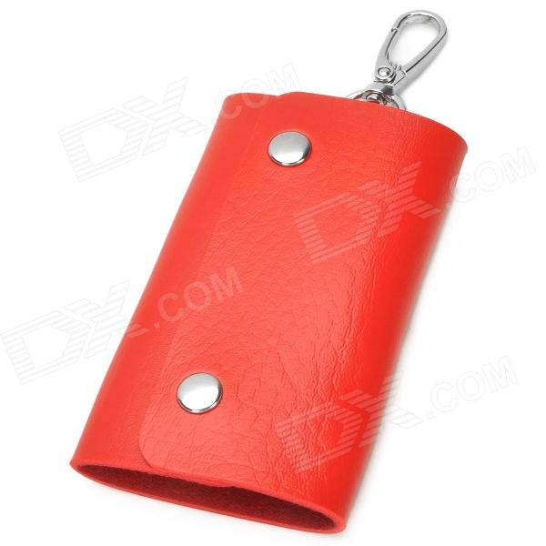 Universal Portable PU Car Key Holder Case Bag - Red bamboo texture pu leather zipper car key holder case bag reddish brown