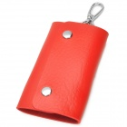 Universal Portable PU Car Key Holder Case Bag - Red