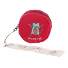 LM-1255 Happy Cat Pattern Canvas Change Purse - Red