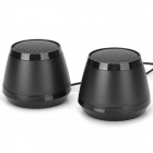 OJADE Mini USB 2.0 2-CH Speaker for Cellphone / MP3 / Laptop + More - Black (2 PCS)