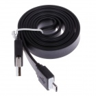 Flat Micro USB Male to USB 2.0 Male Data Sync Cable for Samsung Galaxy S3 i9300 + More - Black