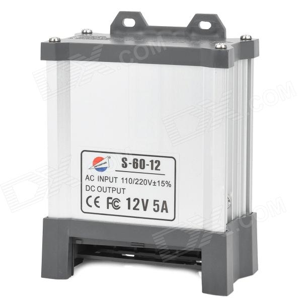 S-60-12 12V 5A Rainproof Power Supply (AC 110~220V) s 120 48 120w mean well led switching power supply 48v 2 5a transformer from 110v 220v ac to dc output