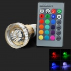E27 3W 1-LED RGB Light Lamp w/ Remote Control - White + Golden + Transparent