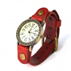 ZY-00013 Retro Style PU leather Band Zinc Alloy Dial Quartz Analog Wrist Watch - Red (1 x 626)