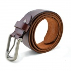 T.acttion 901496 Fashionable Cow Split Leather Men's Waist Belt w/ Zinc Alloy Buckle - Brown