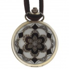 Retro Round Style Unisex Necklace Analog Quartz Pocket Watch - Bronze + Black + White (1 x 377S)