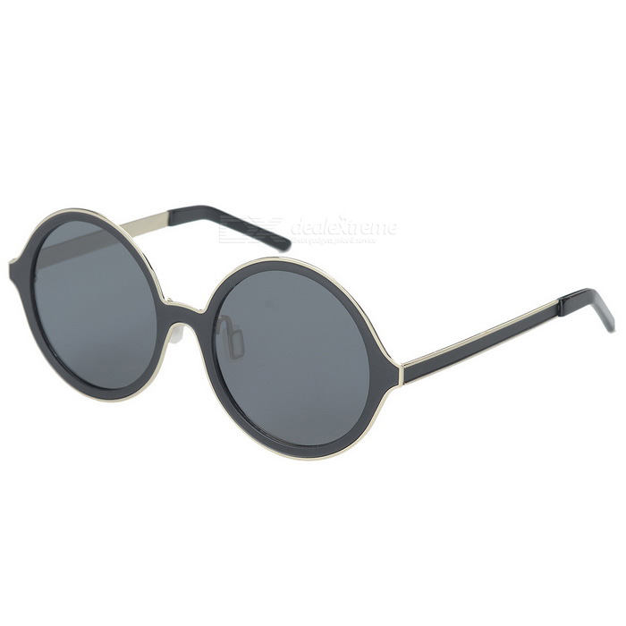 OREKA 1201621 Monel Alloy Frame Round Polarized Lens Sunglasses - Golden + Black + Grey