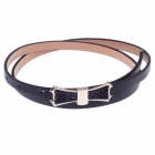 Simple bowknot Lady's PU Leather Belt - Black + Golden
