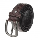 T.acttion 90975-5 Fashion Head Layer Cowhide Knitting Pattern Men's Waist Belt w/ Zinc Alloy Buckle