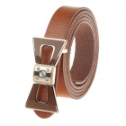 T.acttion 80706-4 Fashionable Head Layer Cowhide Women's Waist Belt w/ Bow Zinc Alloy Buckle - Brown