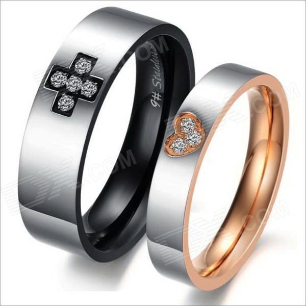 GJ298 Fashionable Titanium Steel Cross Love Couple Rings - Black + Silver + Golden (Men 9 / Women 7) - DXRings<br>Brand N/A Model 298 Quantity 2 Piece Suitable for Adults Gender Unisex Color Black + silver + golden Material Titanium steel U.S.A Size Men 9 / women 7 Ring Diameter 19 mm Ring Circumference 60 mm Features Fashionable titanium steel cross love couple tings Others Ring diameter: 19mm (male) 17mm (female); Ring circumference: 60mm (male) 54mm (female); Simple design; Corrosion resisting Packing List 2 x Rings<br>