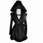 Autumn Winter Long Hooded Wind Coat for Women - Black (Size-L)