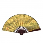 10,7'' Chinese Folding Fan / Art Fan Riverside Szene am Qingming Festival - Brown + Gelb