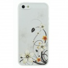 Colorfilm Flower Embossed Protective Plastic + TPU Back Case for Iphone 5 - White