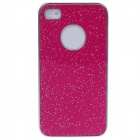 Fashionable Shiny Protective Plastic Back Case for Iphone 4 / 4S - Deep Pink + Silver