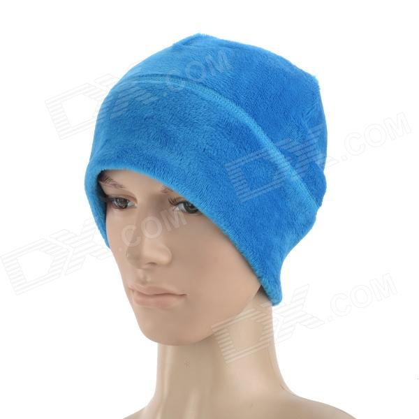 Stylish Outdoor Cozy Warm Coral Fleece Skiing Cap - Blue thick coral fleece pu toilet warm pad mat blue