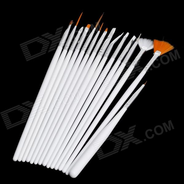 15-in-1 Makeup Art Design Polish Painting Nail Brush Pen Set - White + Silver