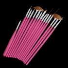 15-in-1 Makeup Art Design Polish Painting Nail Brush Pen Set - Deep Pink + Silver