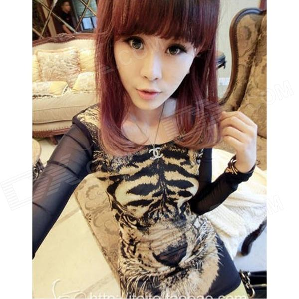 TX-1 Tiger Pattern Long-Sleeves Skin Tight Bottoming T-shirt - Black + Brown
