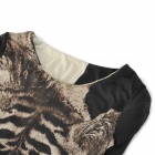 Tiger-Muster Lange - Sleeves Skin Tight Bottoming T-Shirt - Schwarz + Braun