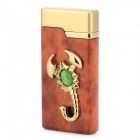 Stylish Scorpion Decorated Butane Refillable Windproof Lighter w/ LED Light - Brown + Golden