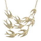 Fashion Swallows Style Zinc Alloy Pendant Short Necklace - Bronze