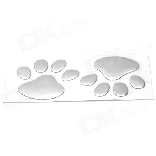 3D Bear Claw Style Aluminum Plastic Car Decoration Sticker - Silver (2 PCS) health product knee pain relief rheumatoid arthritis treatment device with 4 function home care