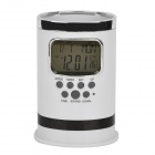 "Multifunctional 1.8"" LCD Screen Display Pen Container w/ Calendar + Thermometer - White (3 x AAA)"