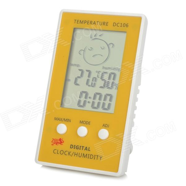 DC106 Digital Indoor Desk Thermometer Humidity Temperature Hygrometer Meter - White + Yellow indoor air quality pm2 5 monitor meter temperature rh humidity