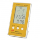 DC106 Digital Indoor Desk Thermometer Humidity Temperature Hygrometer Meter - White + Yellow