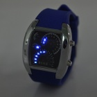 Fashion Racing Car Dial Digital Wristwatch w/ Week / Date Display - Blue + Silver + Black
