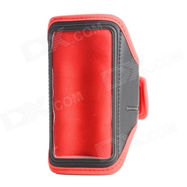 Tecido Arm Bag w / Transparent Window Diving conveniente para Motorola X Phone - Preto + Vermelho