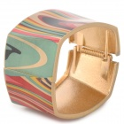 Broad Square Shaped Copper Alloy Bracelet for Women - Multicolored