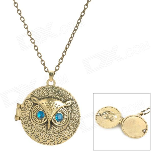 Retro Owl Flip Disk Style Necklace - Bronze