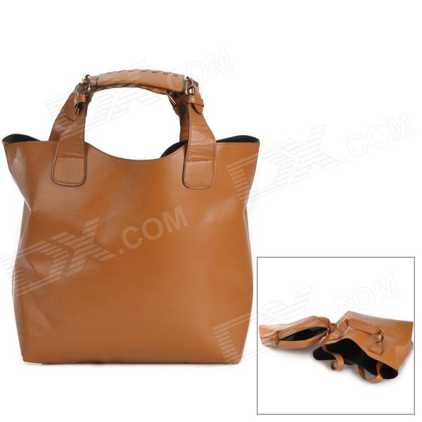 8076 Water Resistant Fashion PU Handbag for Women - Brown