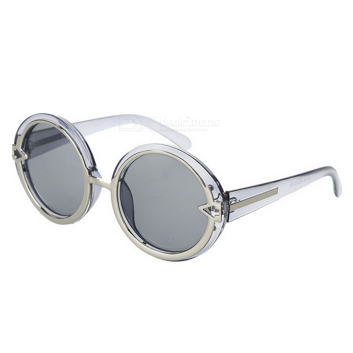 1085-c6 UV400 Protection Round Plastic Frame Resin Lens Sunglasses - Translucent Grey fashion uv400 protection round shape resin lens sunglasses wine red