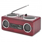 PHL.NPS SA66FM Portable Multimedia 2-CH Wooden MP3 Speaker w/ USB / SD / FM - Brown + Silver + Black