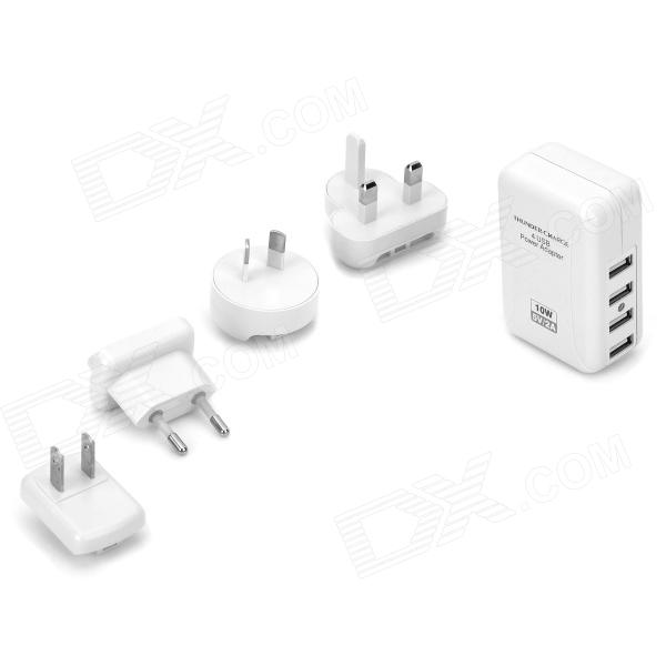 NON-STOP 4 USB Power Adapter w/ US/AU/UK/EU Plug 4 Port USB Travel Wall Charger - White 2016 south africa travel adapter type m large 15 amp bs 546 2 port multi outlet black color 1 to 2 eu au usa plug 15a