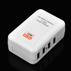 4 USB Power Adapter w/ US/AU/UK/EU Plug Travel Wall Charger - White