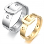 GJ175 Fashionable Titanium Steel Couple Rings - Golden + Silver (US Size Men 9 + Women 7)