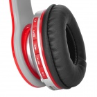 AT-BT802 Bluetooth V2.1 + EDR Headband Stereo Headphone w/ Microphone - Red + Silvery Grey + Black