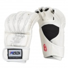 WuLong Boxing MMA Fighting PU Leather Gloves - White (Pair)