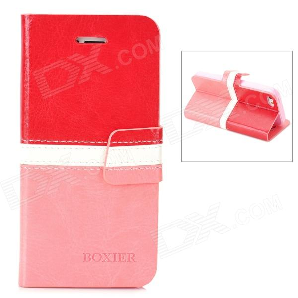 BOXIER LX-BXI4 Protective PU Leather Case for Iphone 5 - Red + White + Pink ppyple aci5 protective pc case w ic card slot for iphone 5 5s cyan white