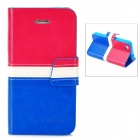 BOXIER LX-BXI4 Protective PU Leather Case for Iphone 4 / 4S - Red + White + Blue