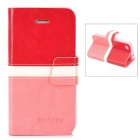 BOXIER LX-BXI4 Protective PU Leather Case for Iphone 4 / 4S - Red + White + Pink